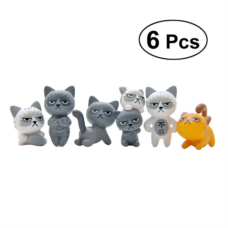 6pcs Cute Cartoon Cat PVC Craft Mini Miniature Garden Decor Ornament Plant Pot Micro Landscape Home Decoration