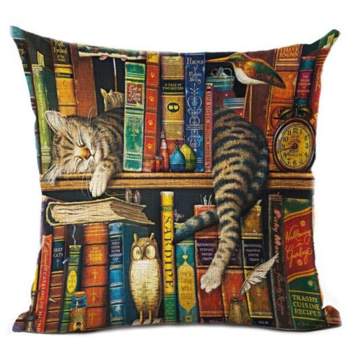 Cute Cat Pattern Printed Cotton Linen Pillowcase Decorative Cushion Pillows Use for Home Sofa Car Office Almofadas Cojines