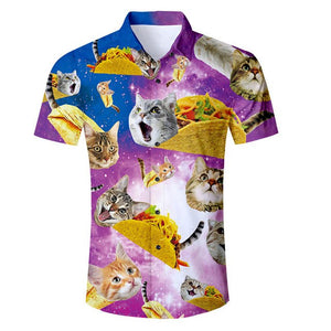 Eur Size Men Shirt 2018 New Fashion Cat Space Galaxy 3D Printed Hawaiian Shirt Male Short Sleeve Slim Fit Shirts Summer Clothes