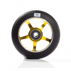 Logic 100mm Classic Core 5 Spoke Scooter Wheels - Black on Gold