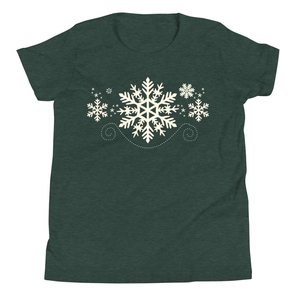 Snowflake Kids Short Sleeve T-Shirt (White)