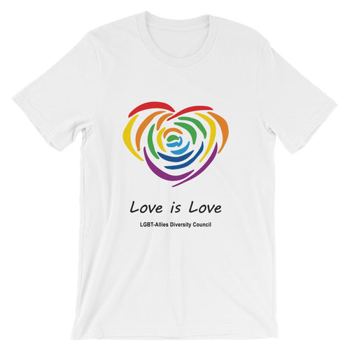 White Love is Love LGBT short sleeve tee