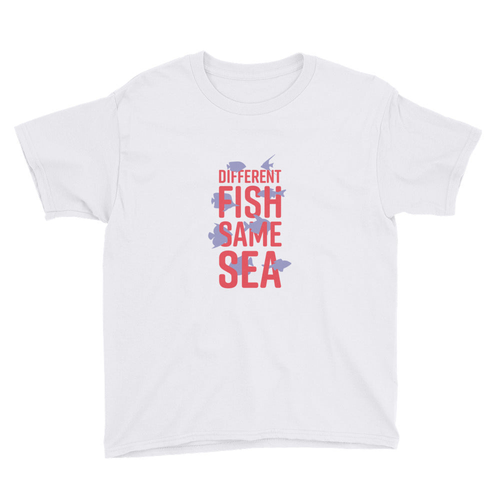 Different Fish Same Sea Kids T-shirt (Purple)