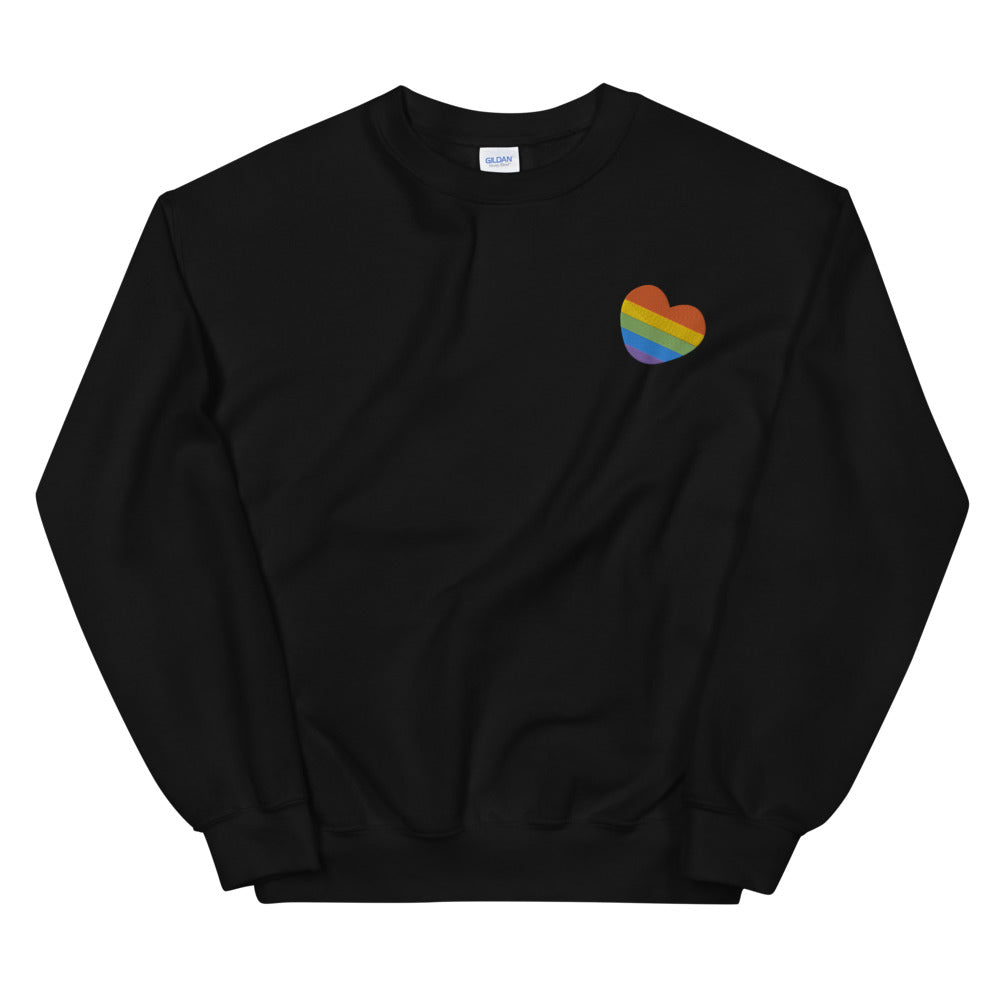 Embroidered Rainbow Heart Unisex Sweatshirt