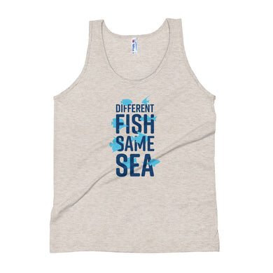 Different Fish Same Sea Unisex Tank Top (Blue)
