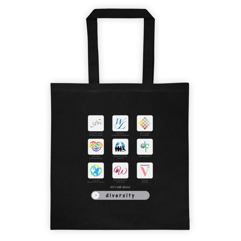 Apps of Diversity reusable canvas tote bag in black