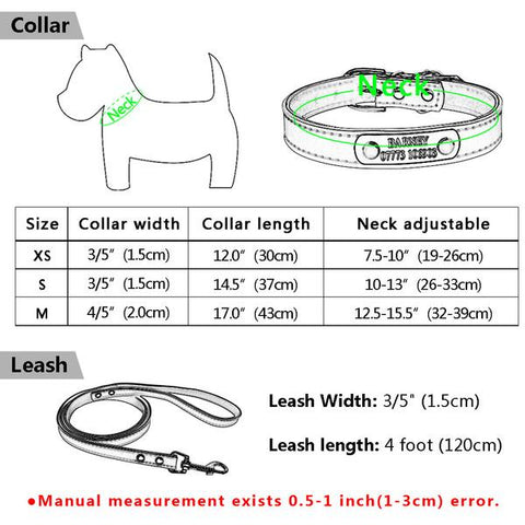 Custom dog collar & leash small sizing chart