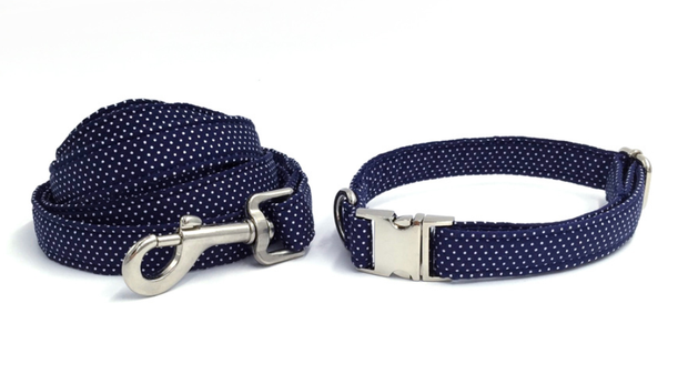 Navy blue and white dot dog collar and leash