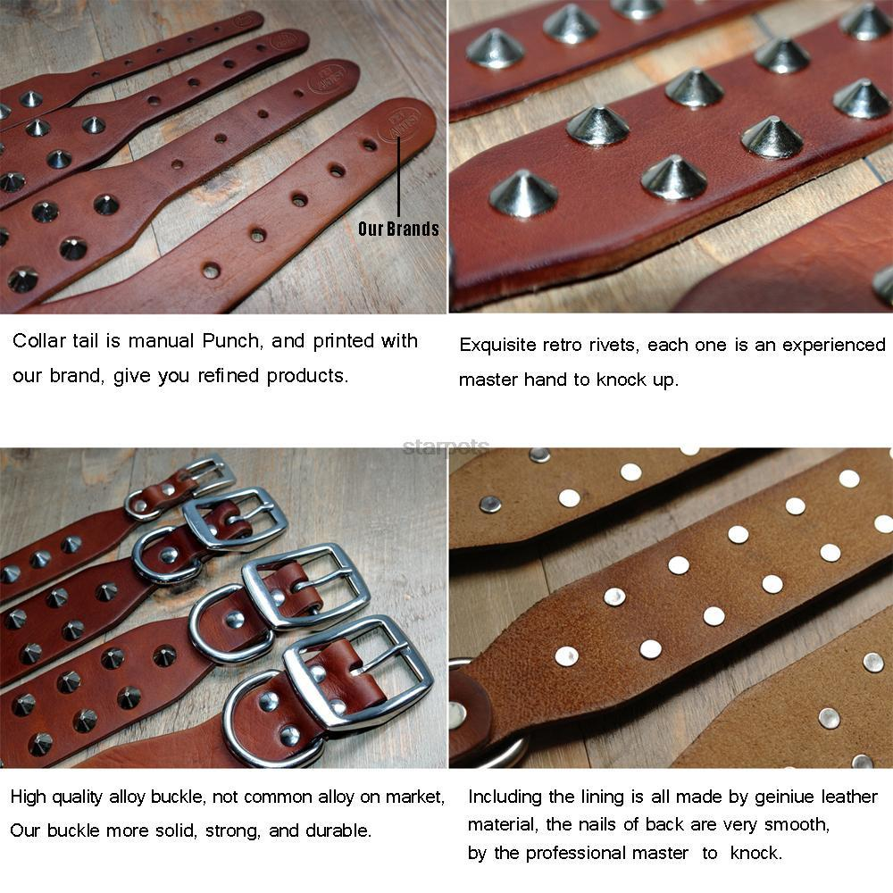 Genuine Leather Stud Dog Collar features