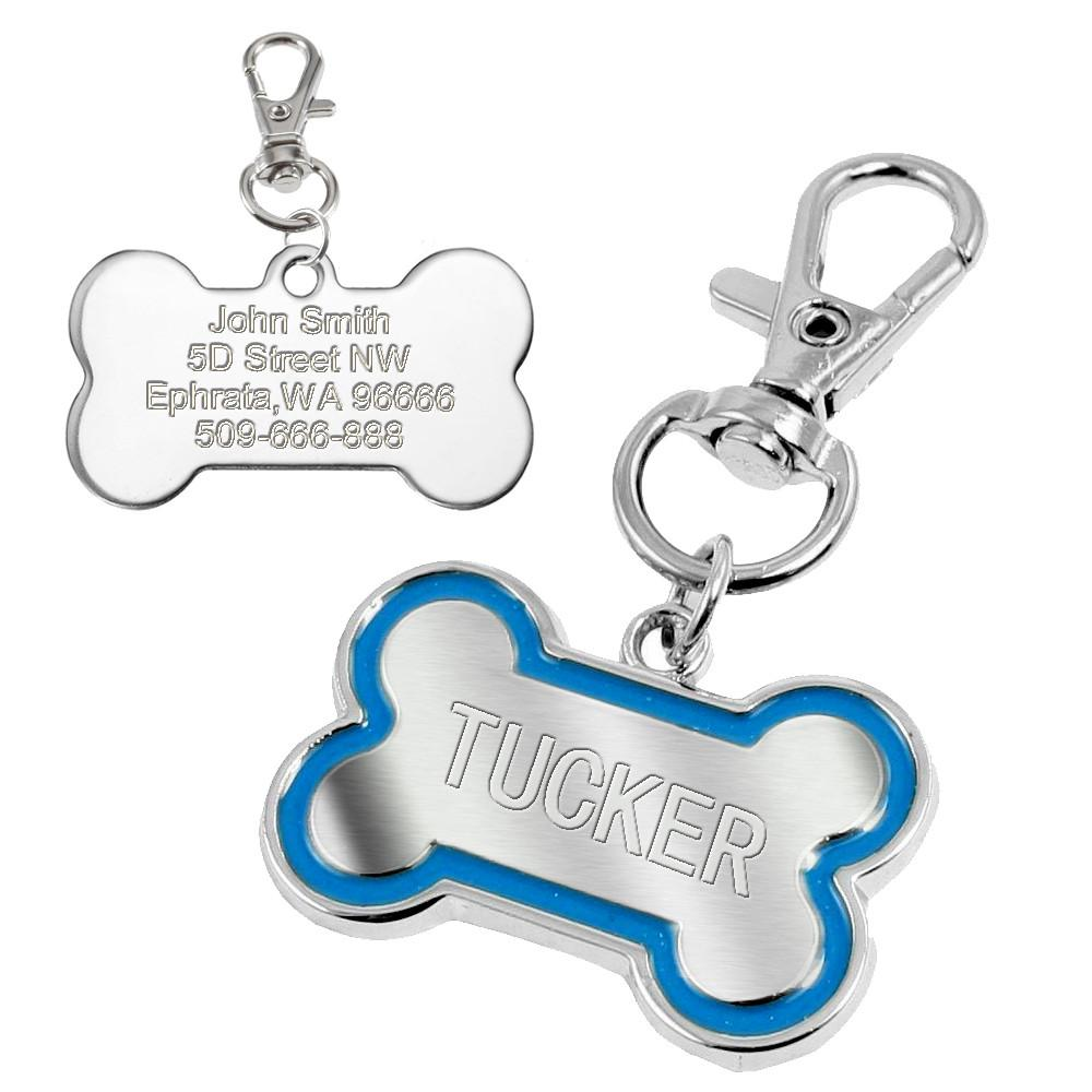 Dog Bone Personalised Engraved ID Tag - Blue