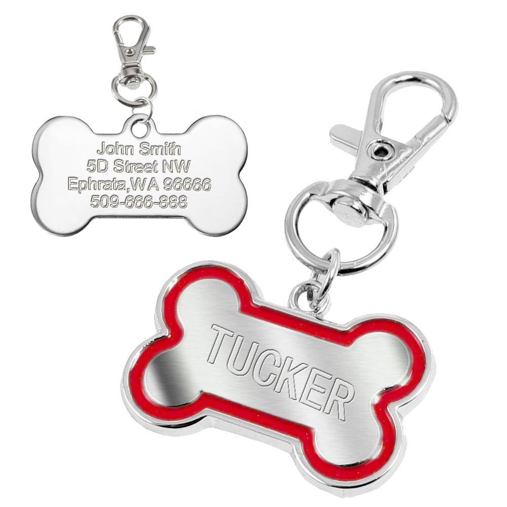 Dog Bone Personalised Engraved ID Tag - Red