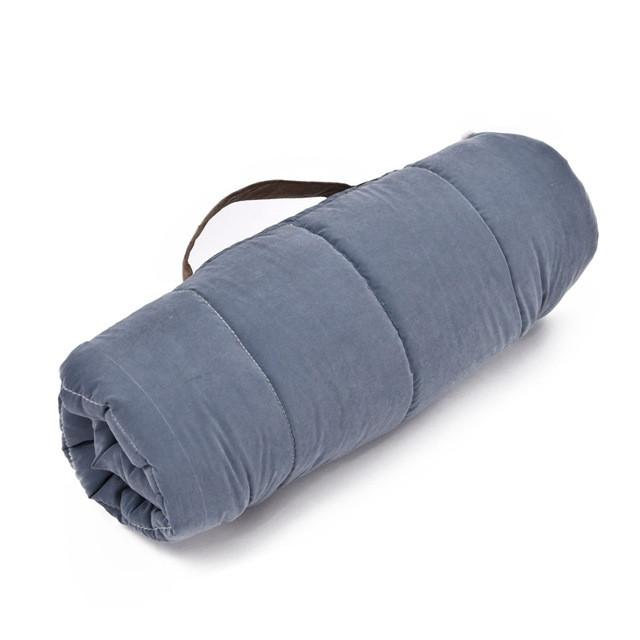 Foldable Soft Dog Travel Bed roll up bundle blue