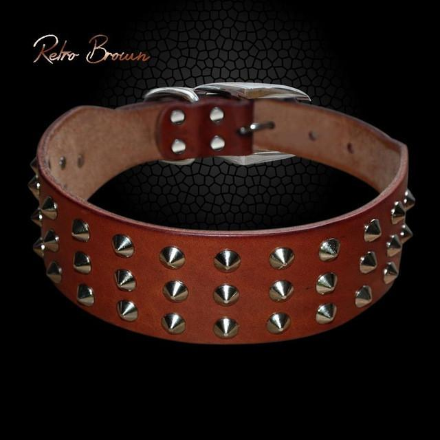 Genuine Leather Stud Dog Collar brown