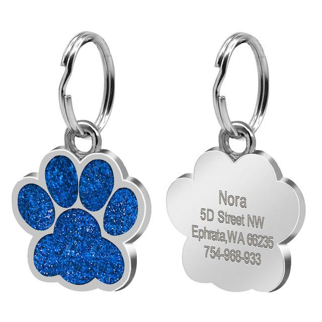 Glitter Paw Custom Engraved ID Tag Blue