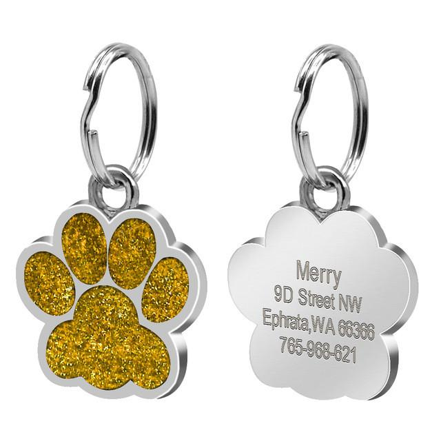 Glitter Paw Custom Engraved ID Tag Yellow Gold