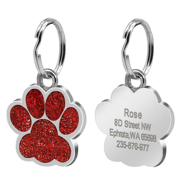Glitter Paw Custom Engraved ID Tag Red