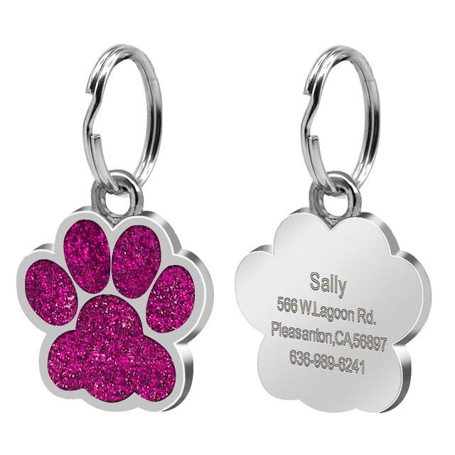 Glitter Paw Custom Engraved ID Tag Rose Red Hot Pink