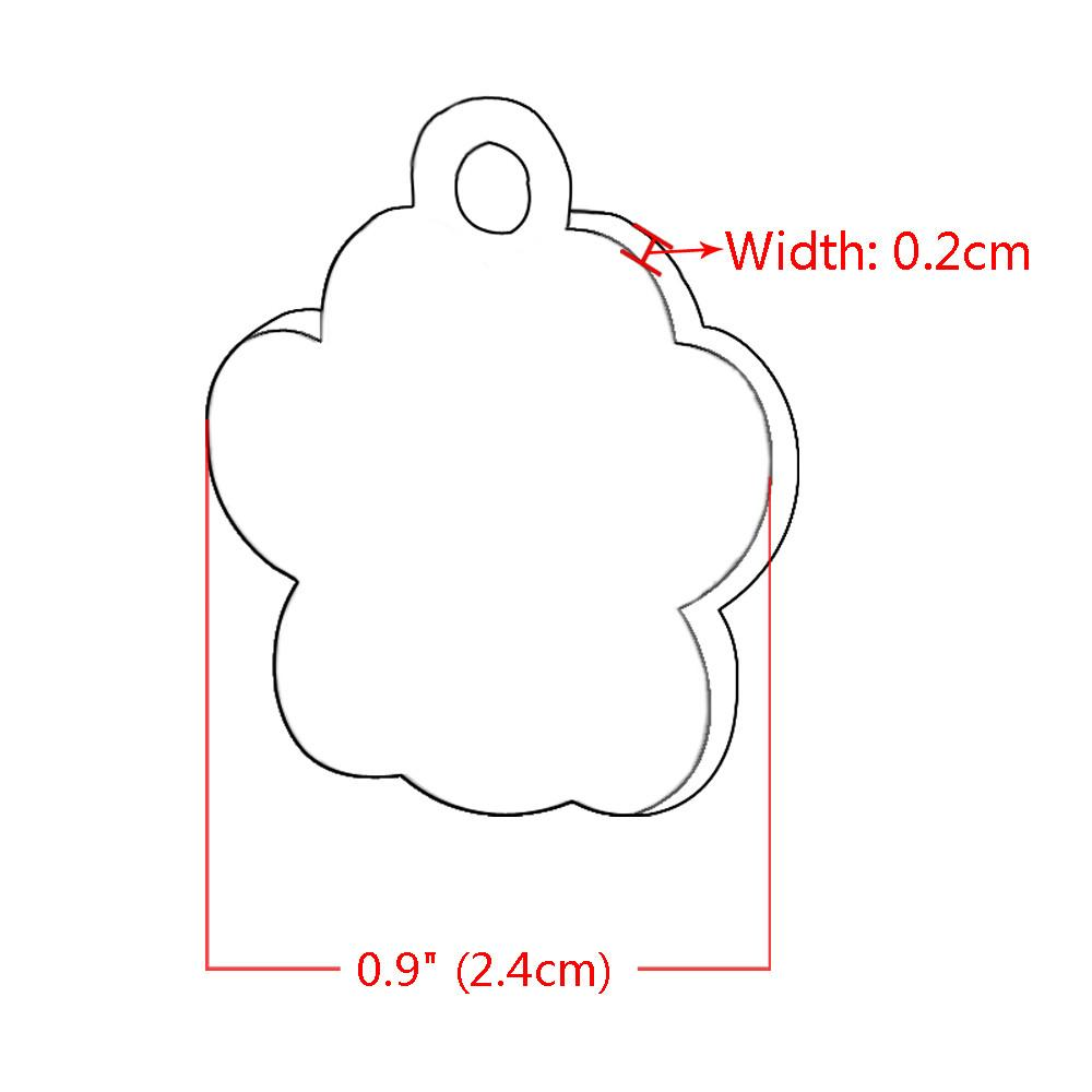 Glitter Paw Custom Engraved ID Tag Sizing