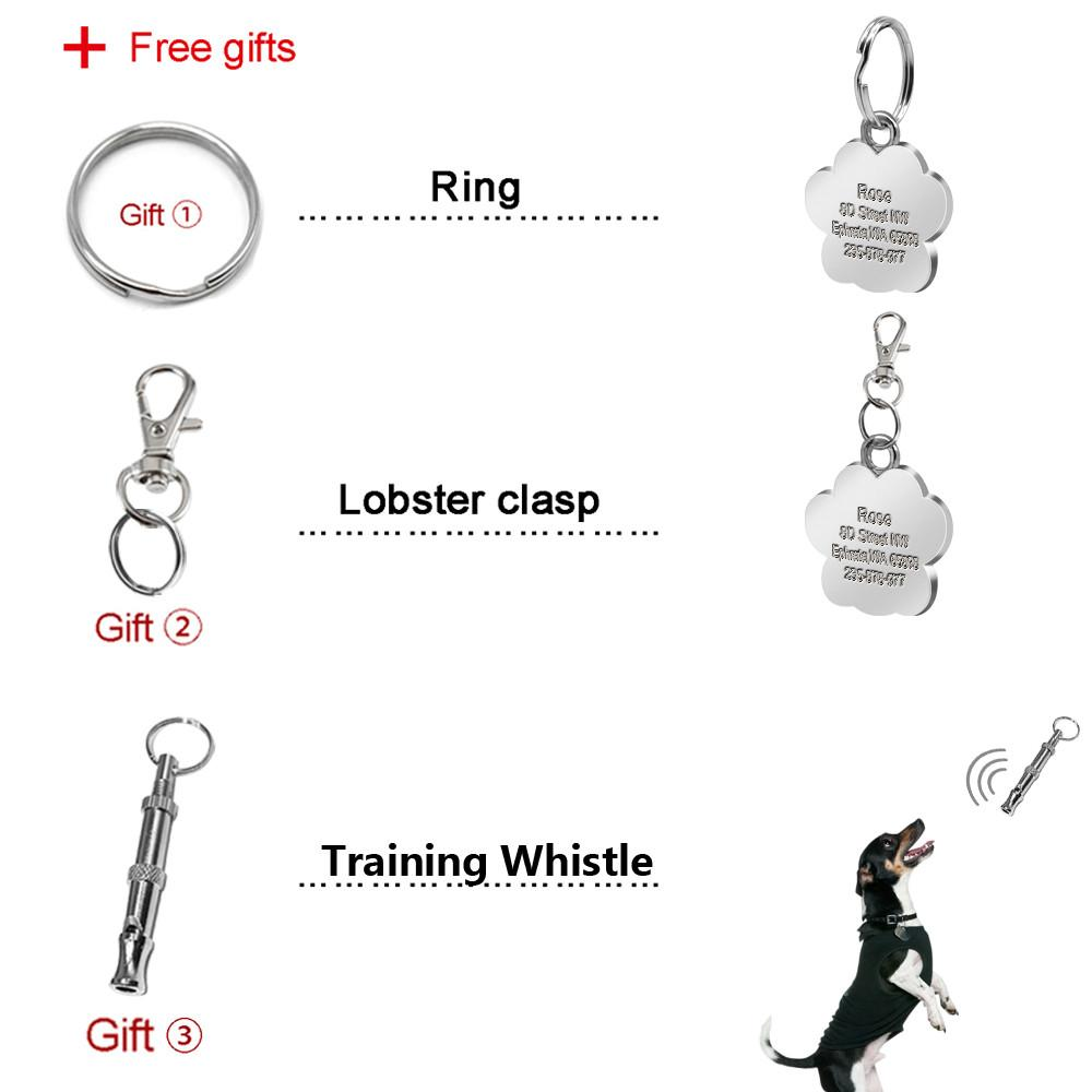 Glitter Paw Custom ID Tag ring, training whistle and clasp