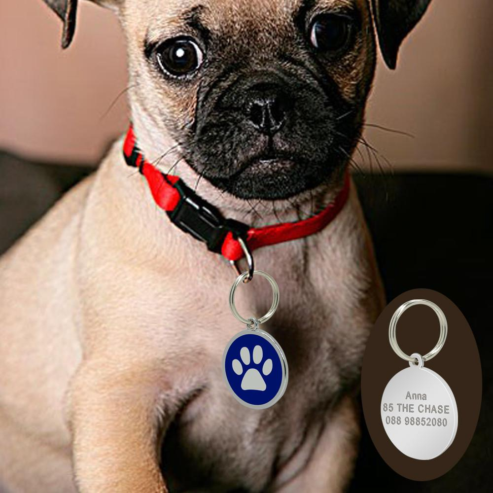Custom Engraved ID Tag - Circle Pet Paw with dog