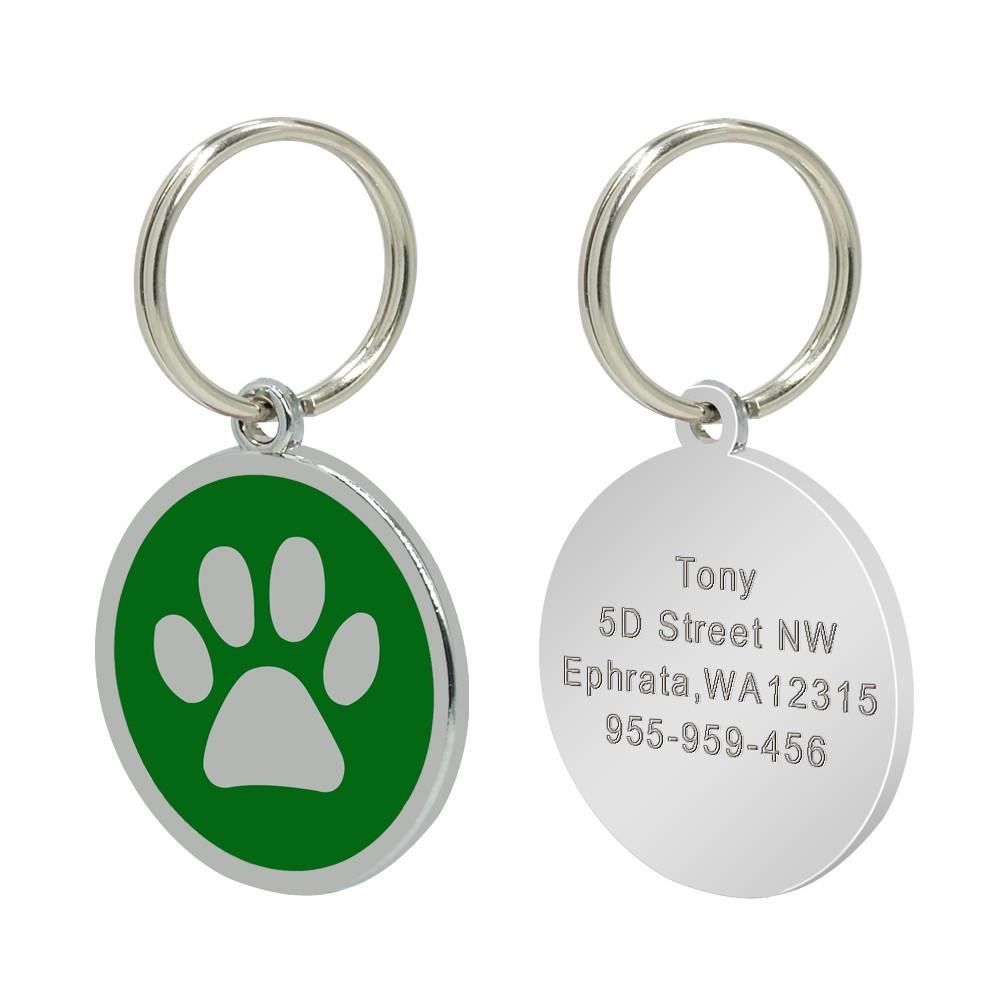 Personalised dog/cat tag - green