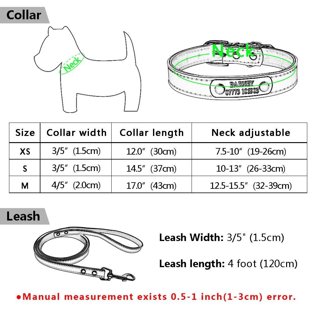 Personalised Engraved Dog Collar And Leash - Size Guide