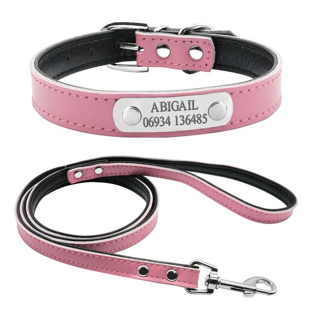 Personalised Engraved Dog Collar And Leash - Pink