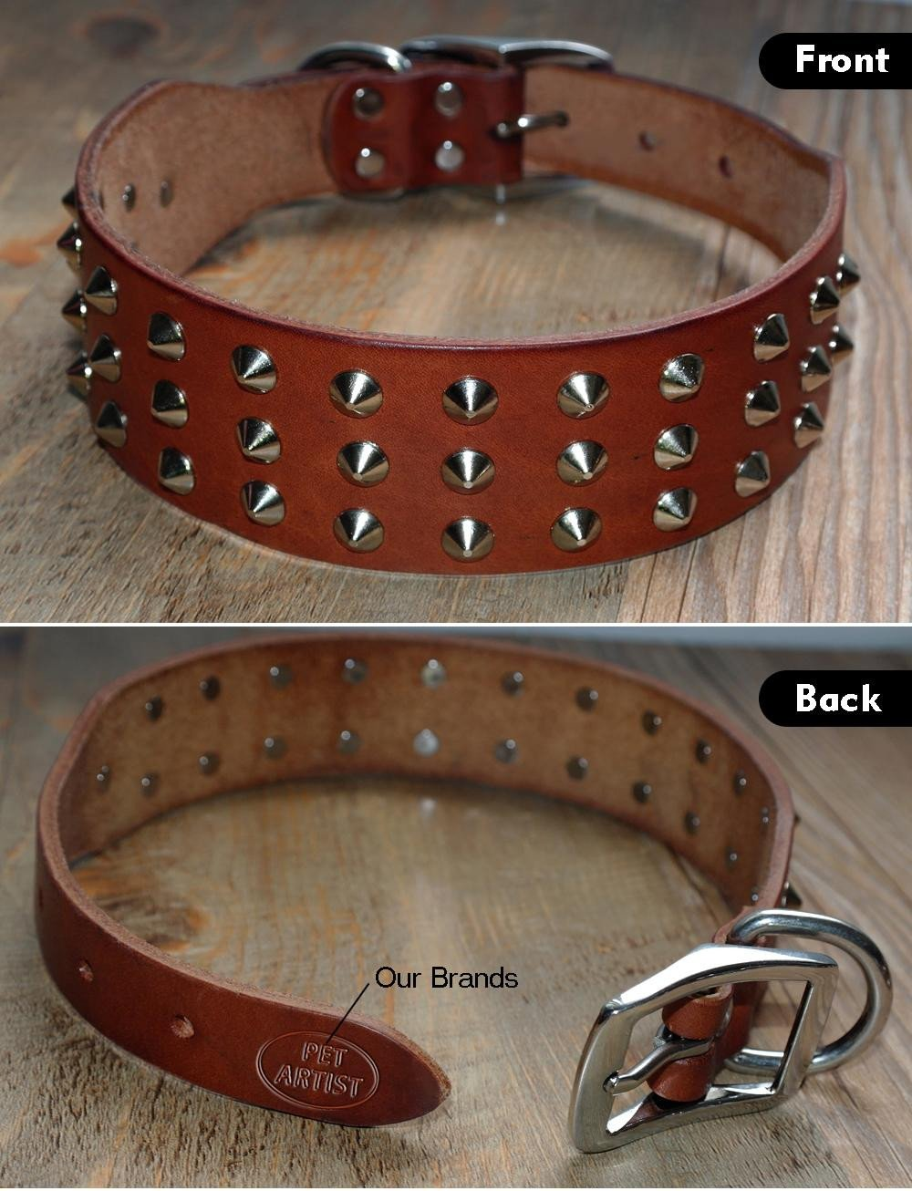 Genuine Leather Stud Dog Collar front and back