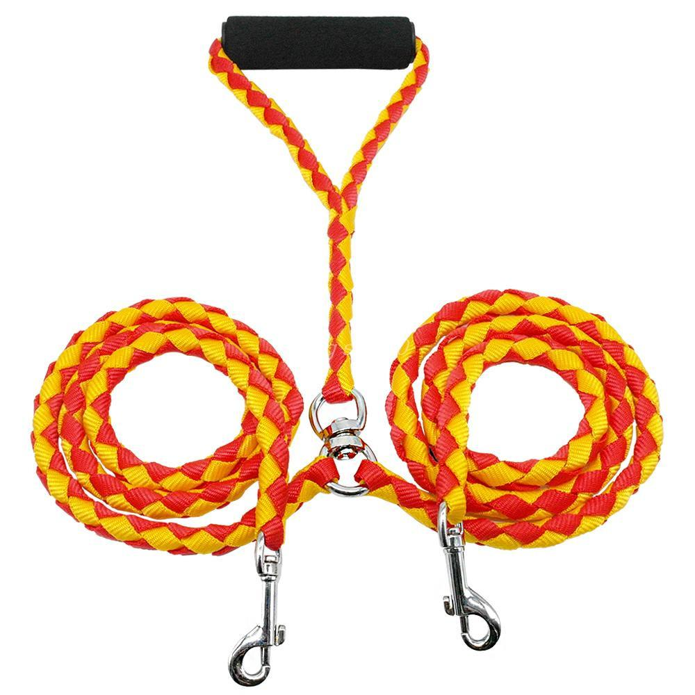 Double Dog Coupler Leash - Braided Anti Tangle Lead Orange and Yellow