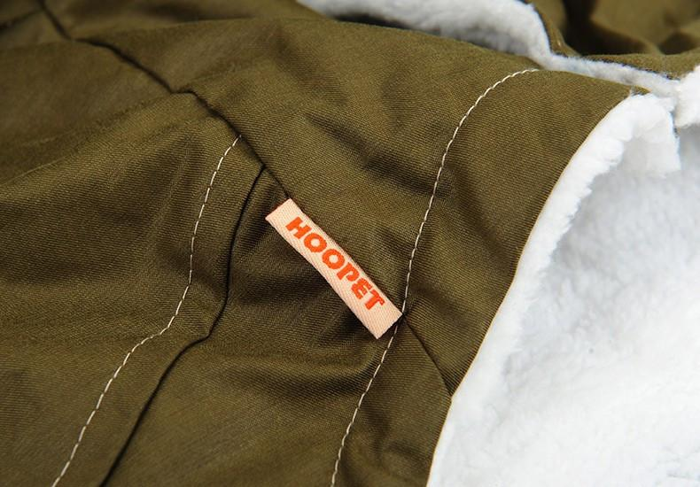 Hooded Fleece Soft Dog Jacket - Army Green stitching