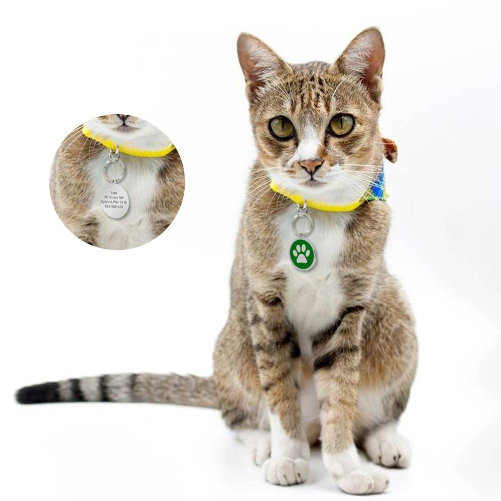 Custom Engraved ID Tag - Circle Pet Paw with cat