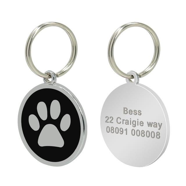 Personalised dog/cat tag - black