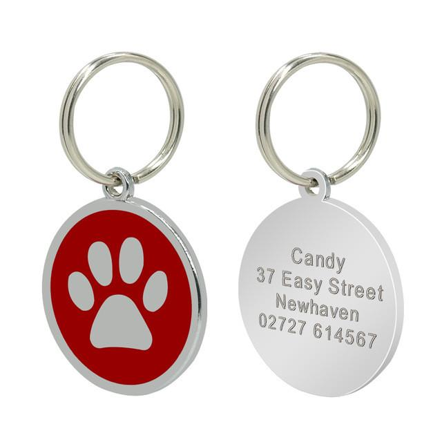Personalised dog/cat tag - red