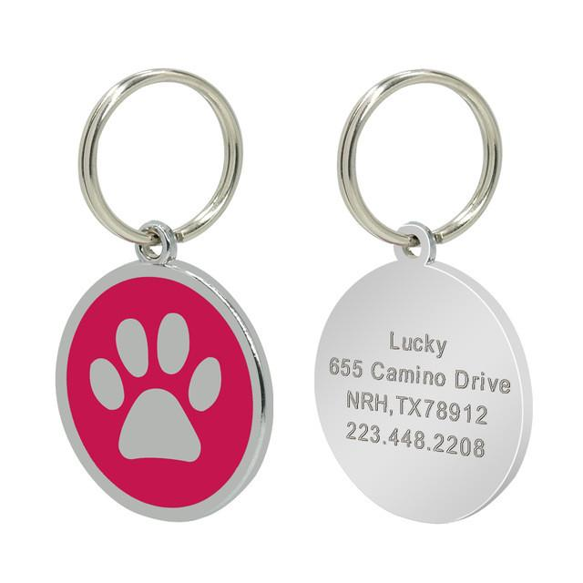 Personalised dog/cat tag - hot pink