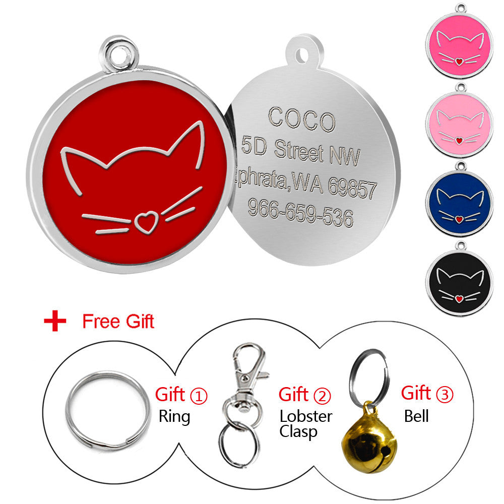 Custom Engraved ID Tag - Cat Face
