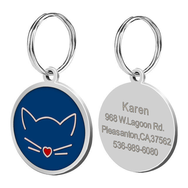 Personalised cat tag - blue