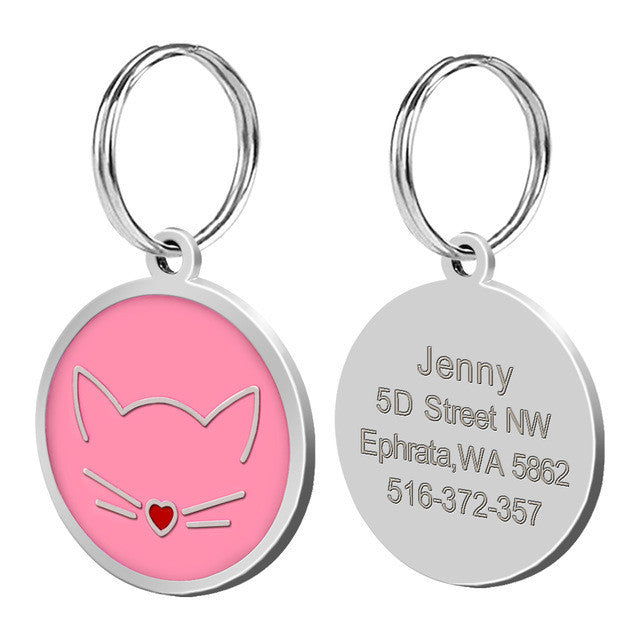 Personalised cat tag - pink