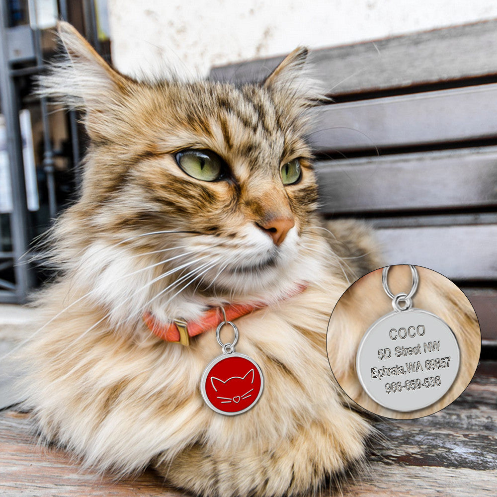 Custom Engraved ID Tag - Cat Face with cat