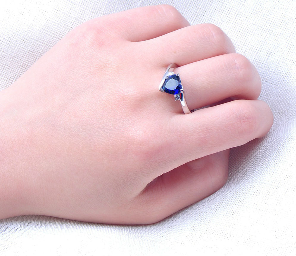 Blue Heart Ring Jewelry Gift