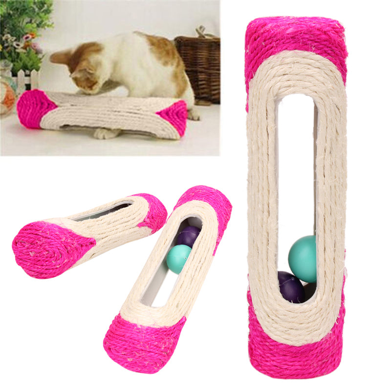 Pet Cat Kitten Kitty Toy Rolling Sisal Scratching Post Trapped Ball Training