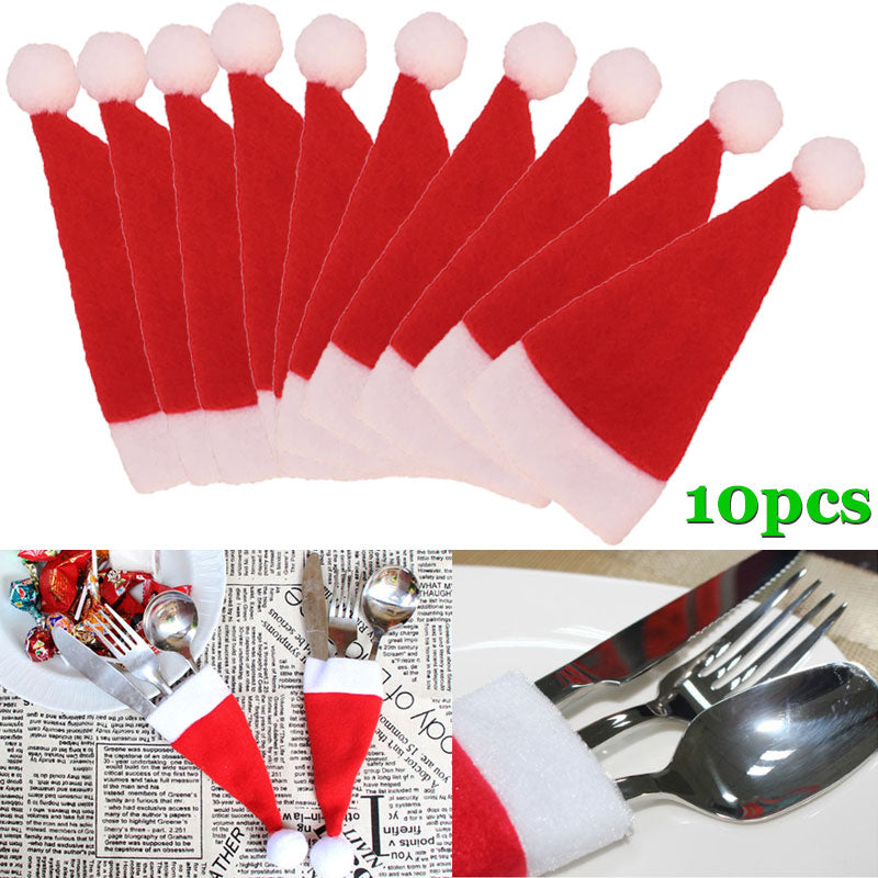 10 Pcs/Set Christmas Dining Table Decoration  With Knife & Spoons