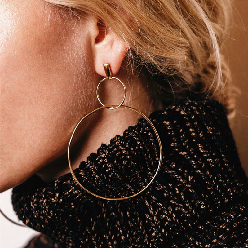 Double Round Circled Big Hoop Earrings for Women
