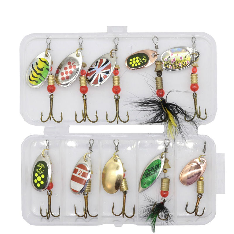 10pcs High Quality Spinnerbait Spoon Lures with Box