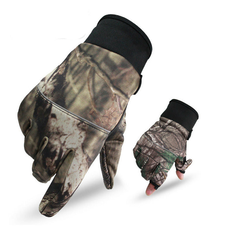 Anti-Slip 2 Fingers Cut Camping & Fishing Gloves