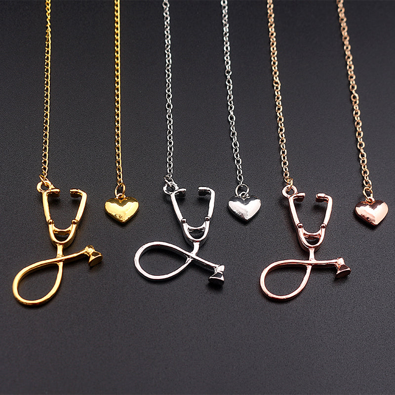 Stethoscope With Heart  Charm Necklace