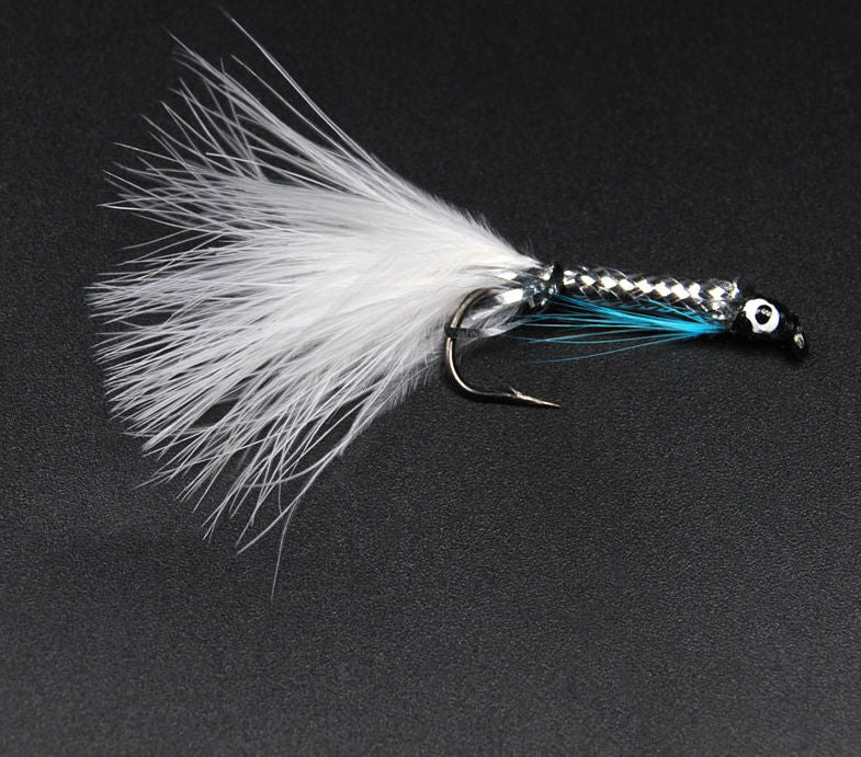 8PCS White Tail Silver Streamer Minnow Fly Fishing Lures