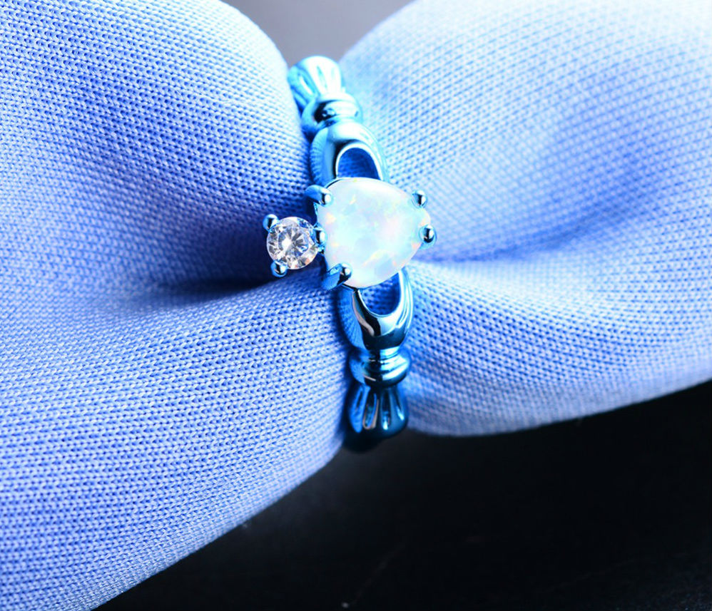 Elegant Blue Gold Filled Lovely White Fire Opal Ring
