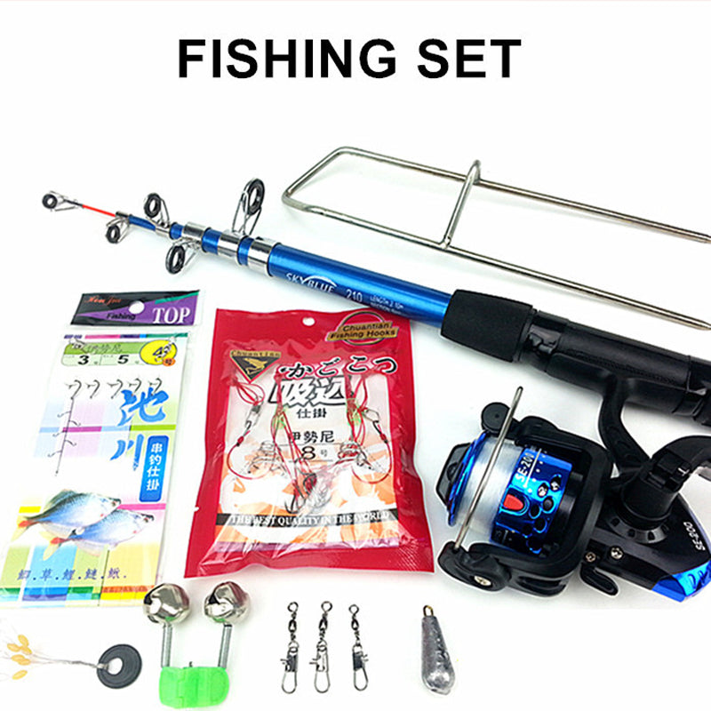 Carbon Portable Saltwater Fishing Rod with Metal Reel