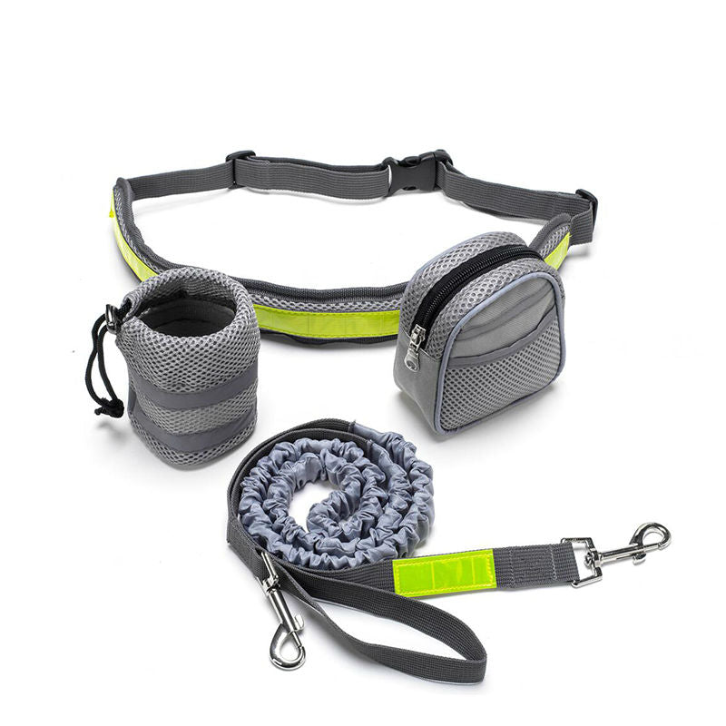 Adjustable Reflective Hands Free Dog Leash With mobile & Water Bag