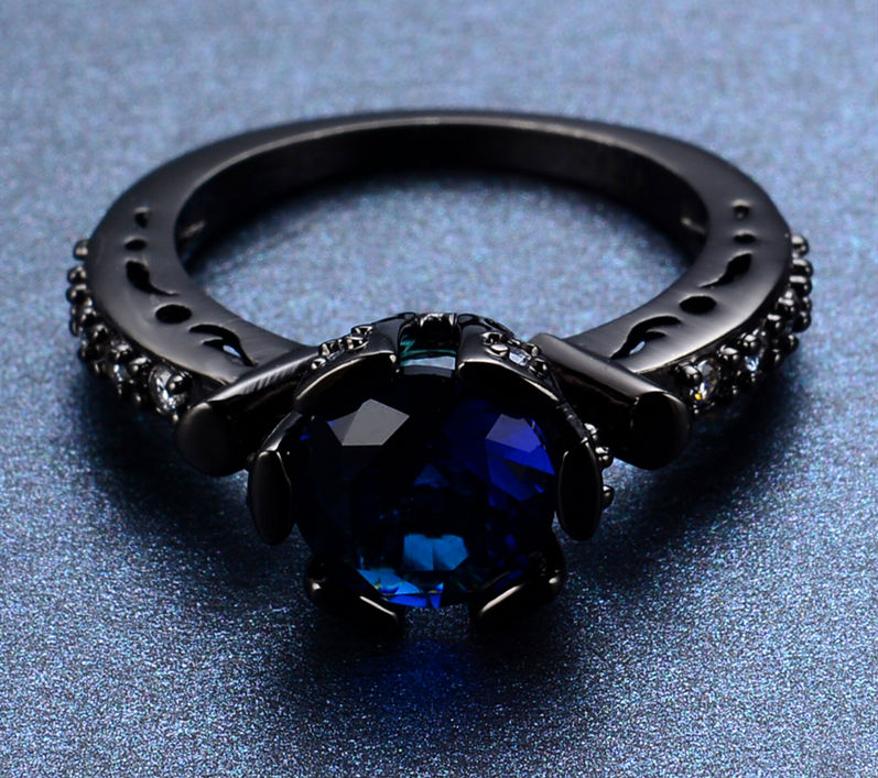 Crystal Blue Zircon Black Gold Filled Ring For Women